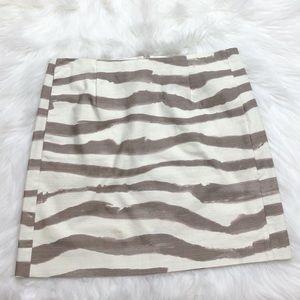 J. Crew Brown & Cream Striped Mini Skirt